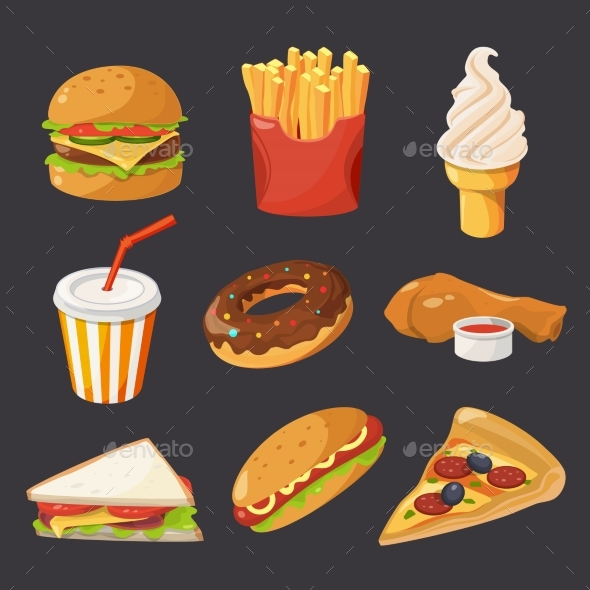 Fast Food Illustration in Cartoon Style - Food Objects