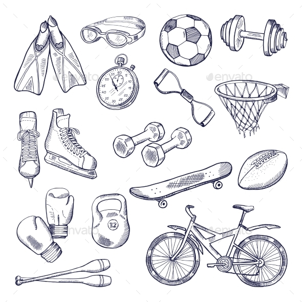 Vector Doodle Set of Sport Equipment - Man-made Objects Objects