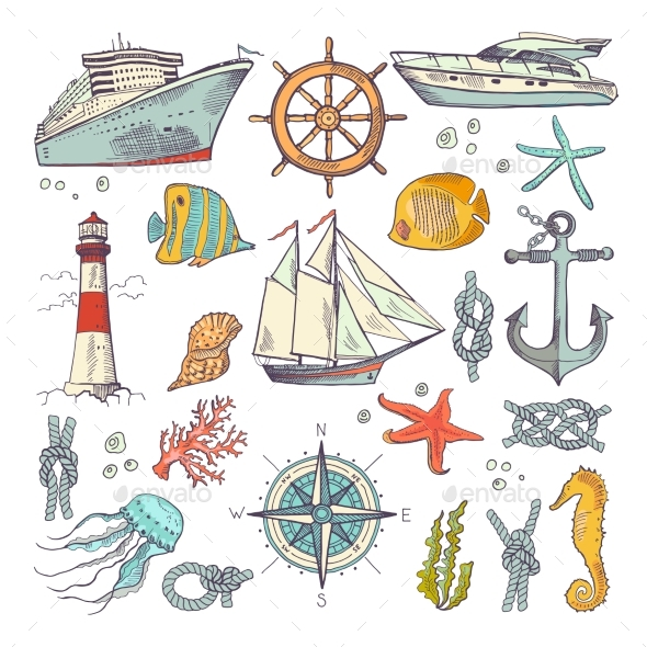 Marine Coloring Doodle Set - Miscellaneous Vectors