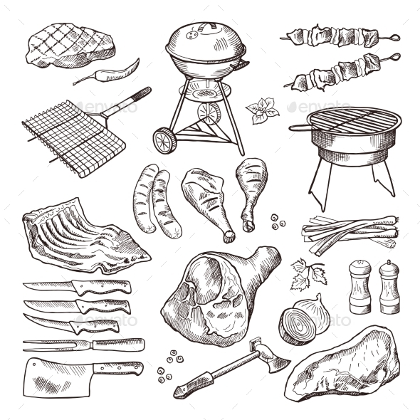 BBQ Vector Hand Drawn Illustration Set - Food Objects