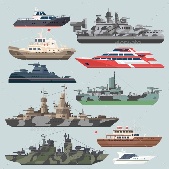 Passenger Ships and Battleships - Man-made Objects Objects