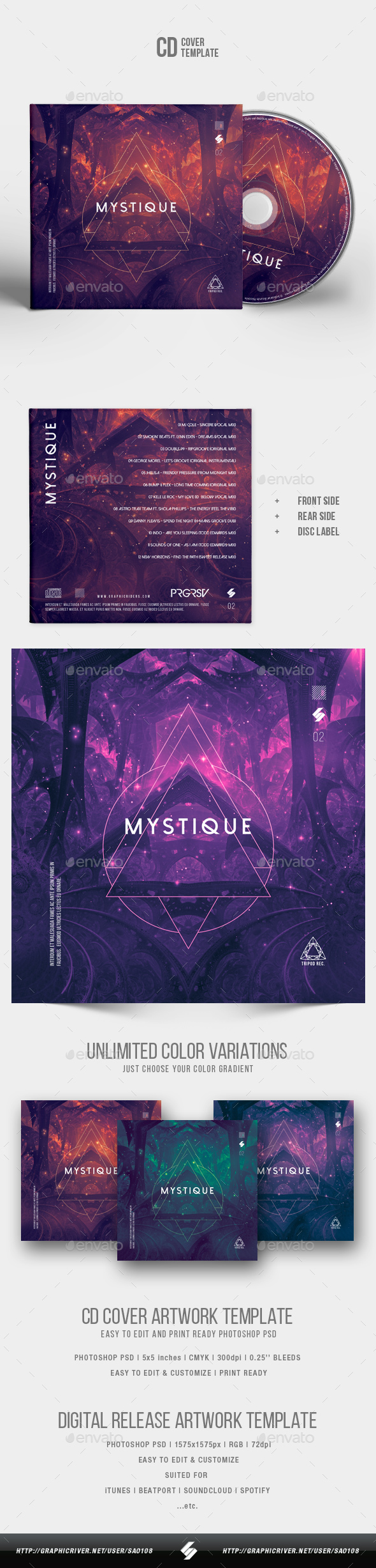 Mystique - CD Cover Artwork Template - CD & DVD Artwork Print Templates