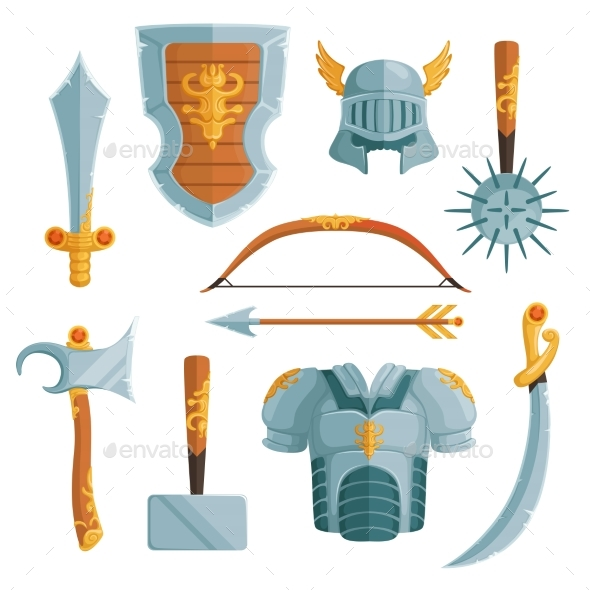 Fantasy Weapons in Cartoon Style - Man-made Objects Objects