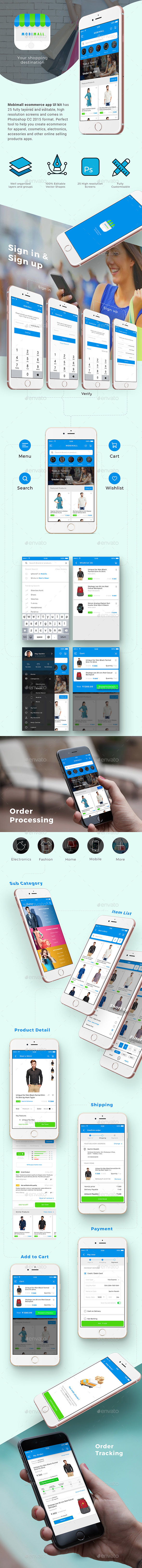 E commerce App UI Set | MobiMall - User Interfaces Web Elements