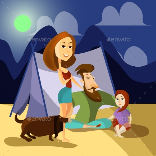 Family Camping Concept Poster. Vector Cartoon - People Characters