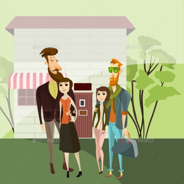 Hipster Couples Walking. Vector Cartoon People - People Characters