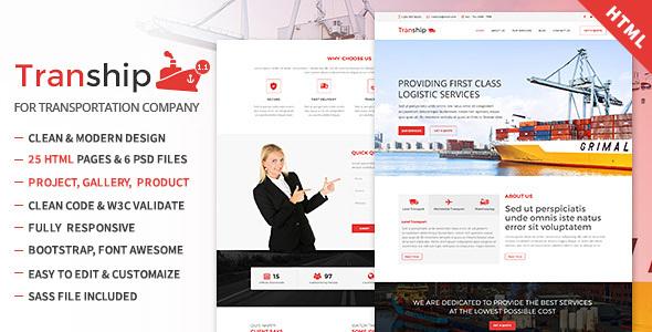 Tranship - Shipping / Logistics / Transportation / Responsive HTML Template - Corporate Site Templates