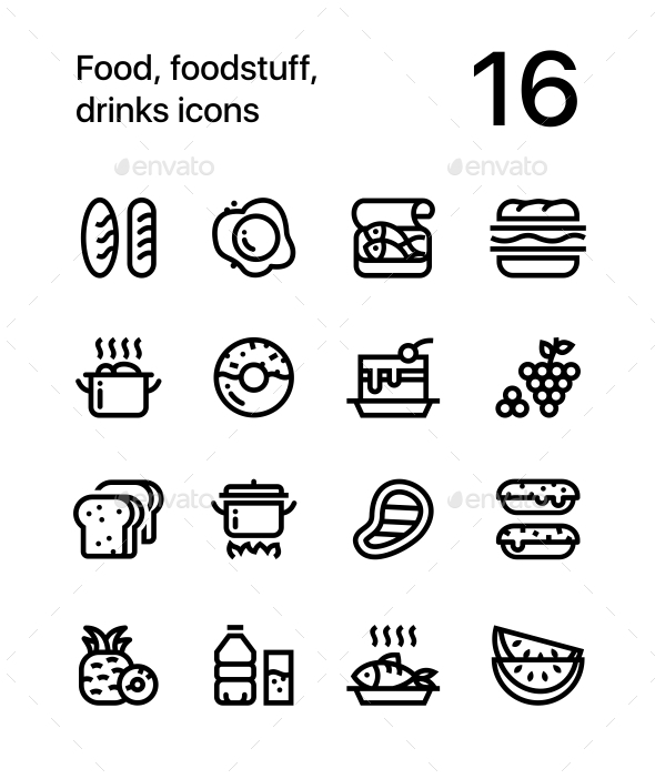 Food, Foodstuff, Drinks Icons for Web and Mobile Design Pack 1 - Food Objects