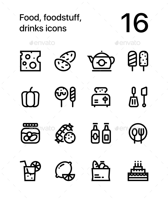 Food, Foodstuff, Drinks Icons for Web and Mobile Design Pack 2 - Food Objects