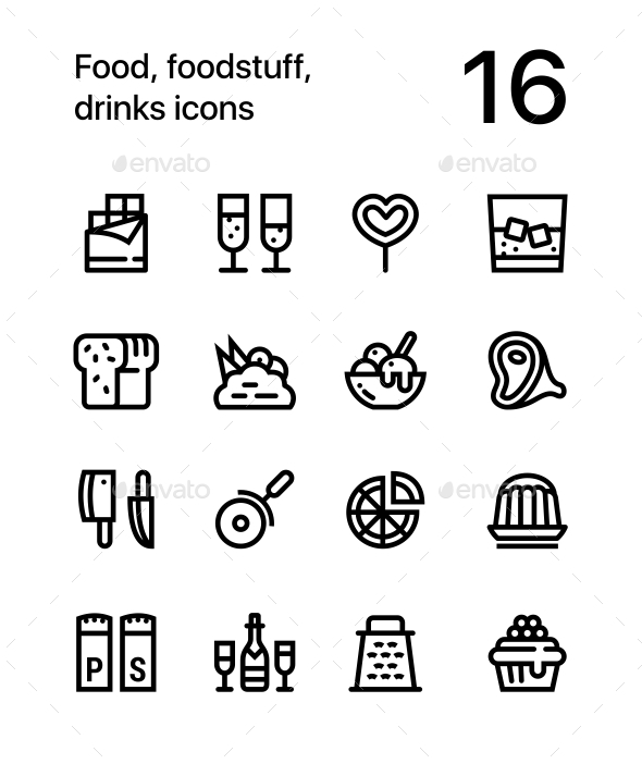 Food, Foodstuff, Drinks Icons for Web and Mobile Design Pack 3 - Food Objects