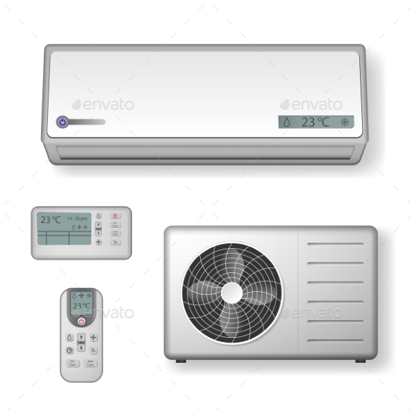 Realistic Set of Air Conditioner with Cooling - Objects Vectors