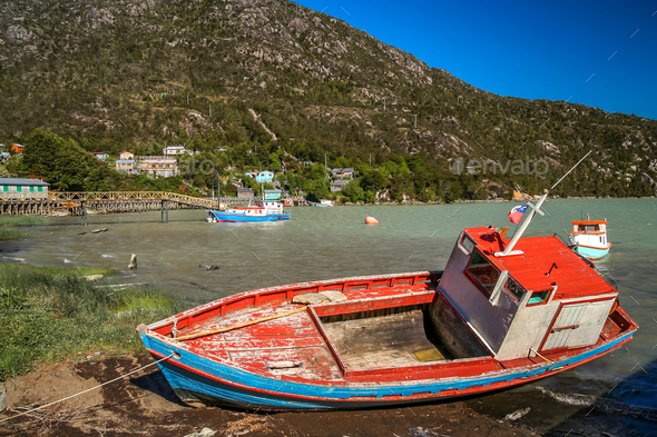 Disused fishing boat In Patagonia - Stock Photo - Images