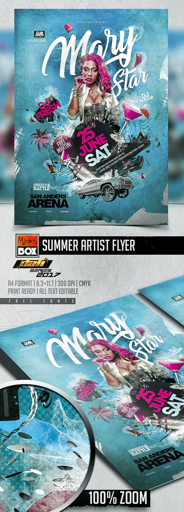 Summer Artist Flyer - Flyers Print Templates