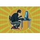 Hacker Sitting at the Computer - GraphicRiver Item for Sale