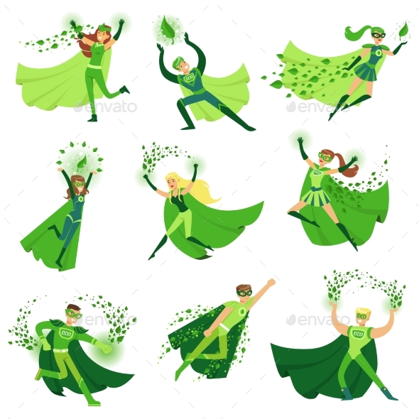 ECO Superhero Characters in Action Set - Miscellaneous Vectors