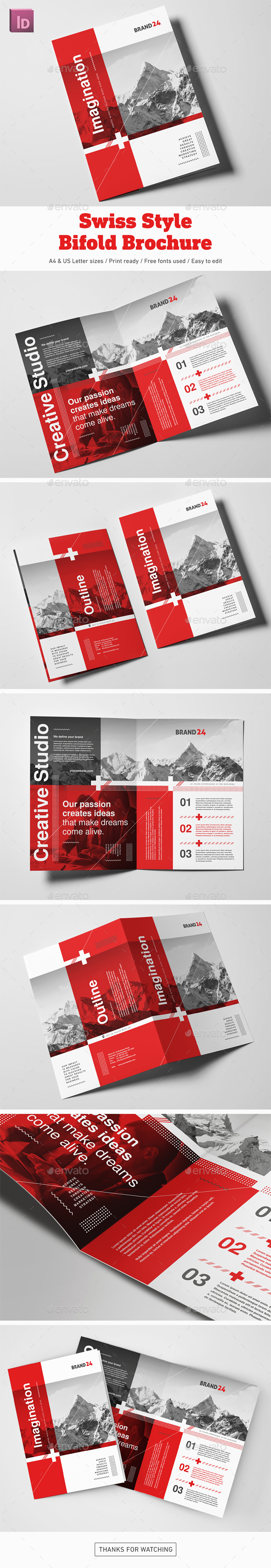 Swiss Style Bifold Brochure - Corporate Brochures