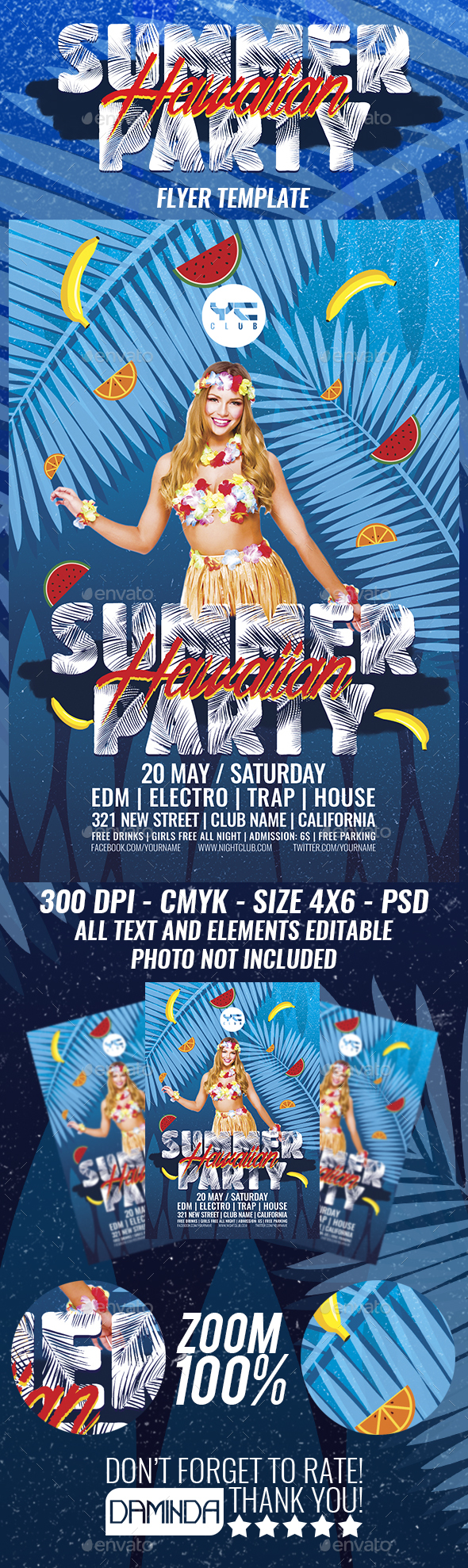 Summer Hawaiian Party Flyer Template - Clubs & Parties Events