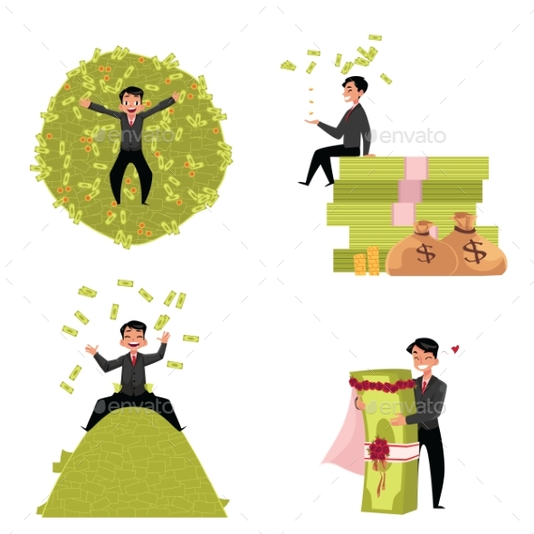 Businessman Marrying to Money - People Characters