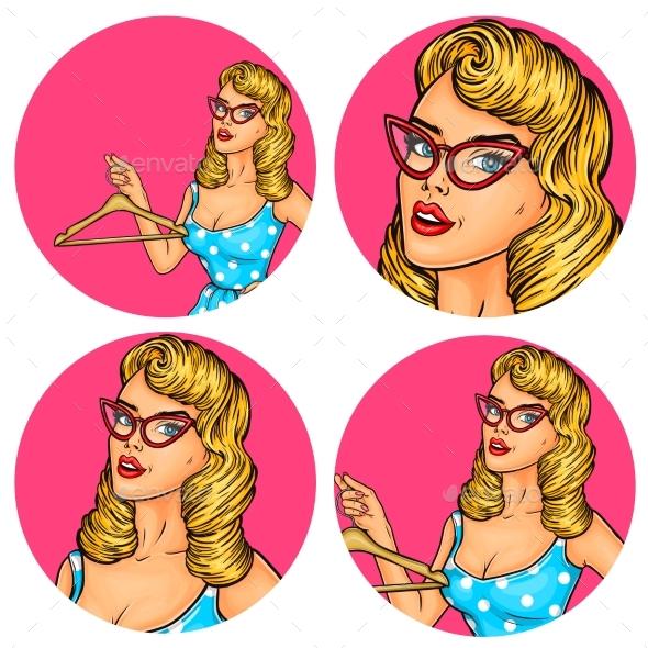 Set of  Women Pop Art - People Characters