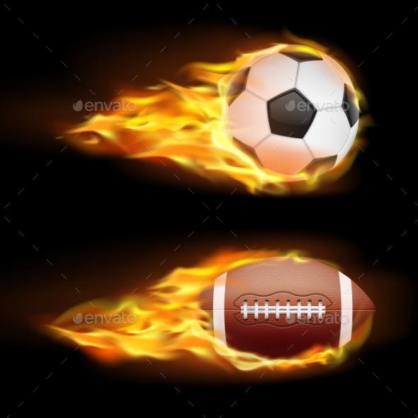 Vector Set of Sports Burning Balls - Sports/Activity Conceptual