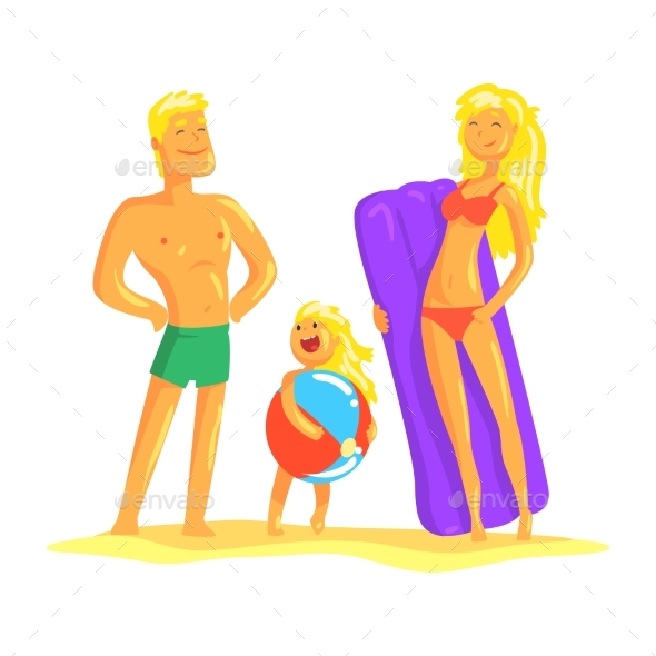 Happy Parents and Their Son Resting on the Beach - People Characters