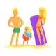 Happy Parents and Their Son Resting on the Beach - GraphicRiver Item for Sale