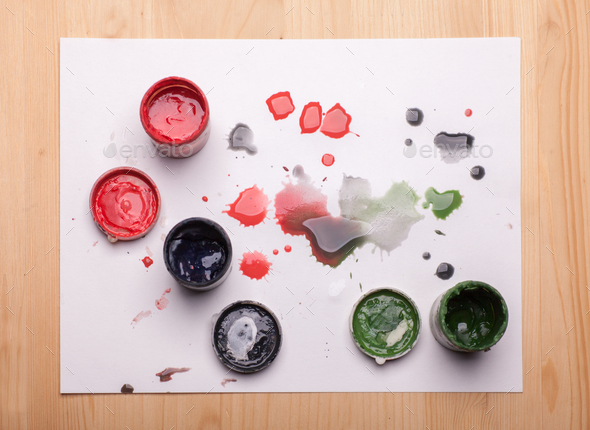 gouache paints on wooden table - Stock Photo - Images