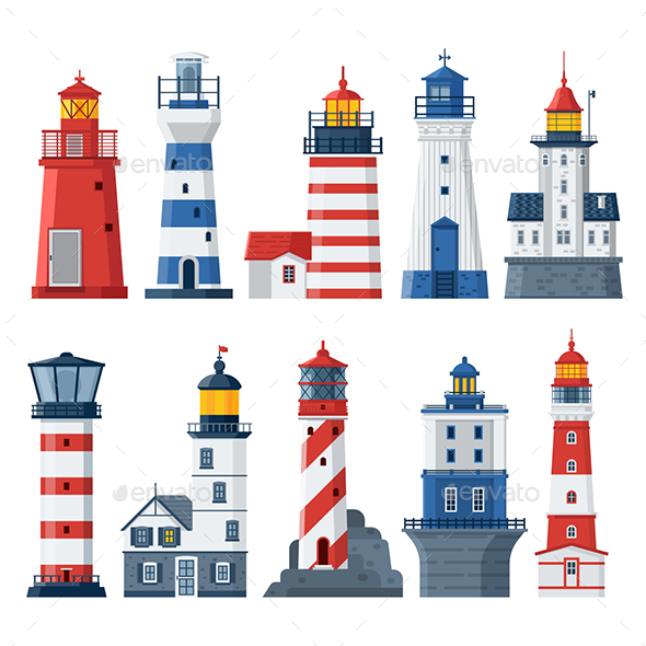 Flat Lighthouses and Sea Guide Lights - Buildings Objects