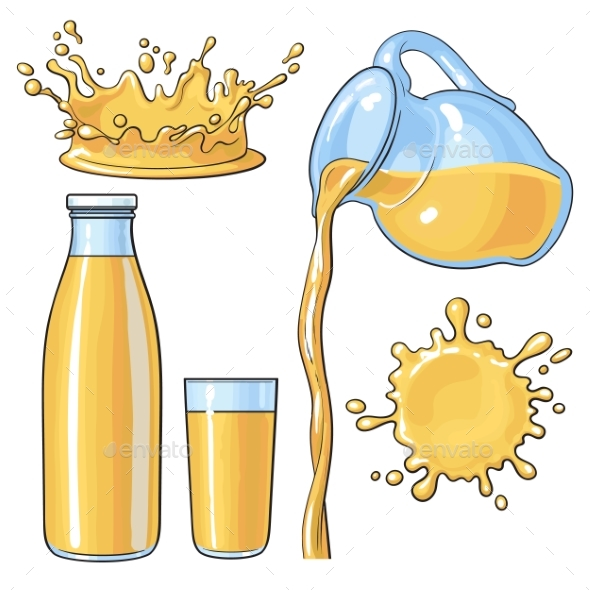 Splashing and Pouring Orange Juice - Food Objects