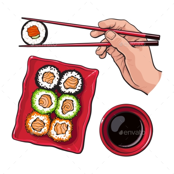 Eating Sushi - Human Hand with Chopsticks and Soy - Food Objects