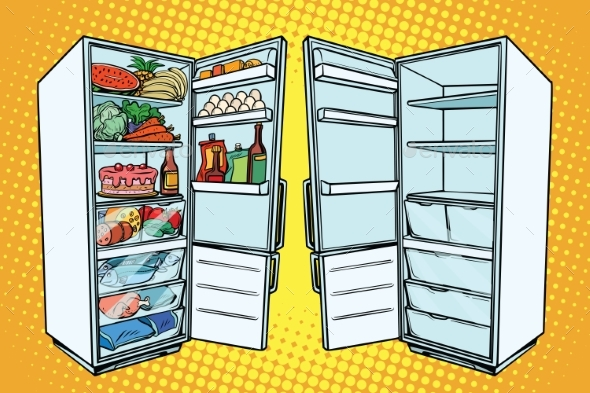Two Refrigerators Empty and Full - Food Objects