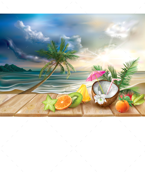 Cocktail and Tropical Fruits on a Sea Background - Travel Conceptual