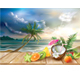 Cocktail and Tropical Fruits on a Sea Background - GraphicRiver Item for Sale