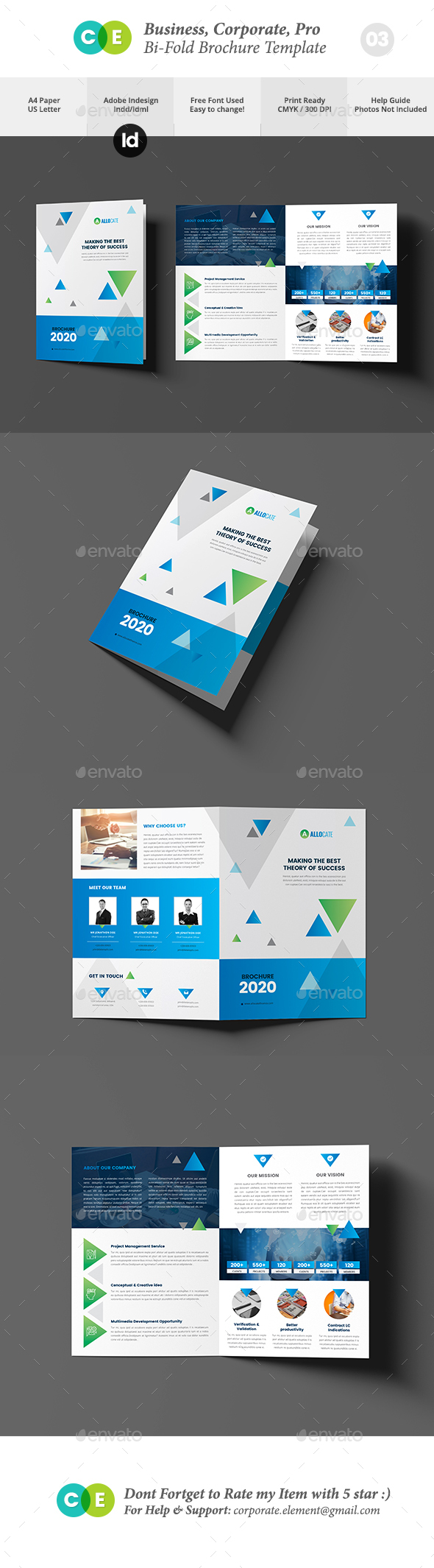 Corporate Business Pro Bi-Fold Brochure V03 - Brochures Print Templates