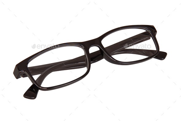 Black glasses on a white background - Stock Photo - Images