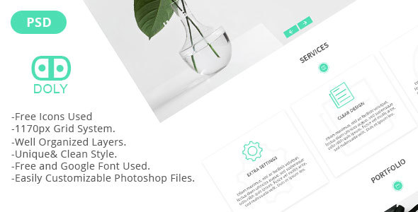 Doly - Creative One Page PSD Template - Creative PSD Templates