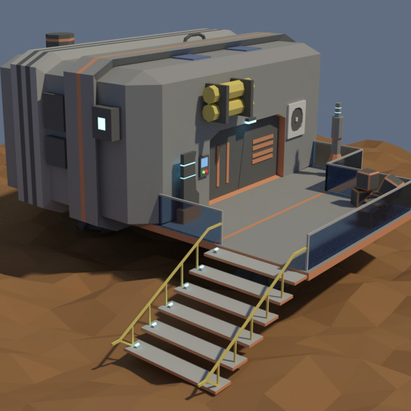 Low Poly Cartoony Sci Fi Building - 3DOcean Item for Sale
