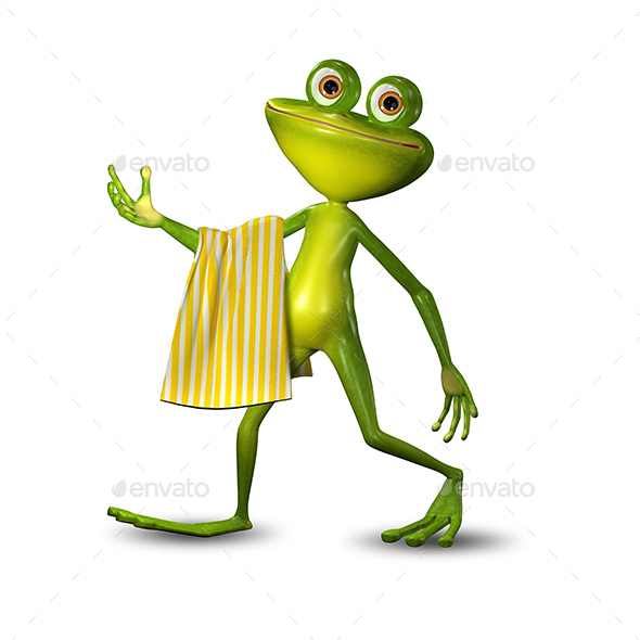 3d Illustration of a Green Frog Walking with a Towel - Characters 3D Renders