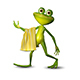 3d Illustration of a Green Frog Walking with a Towel - GraphicRiver Item for Sale