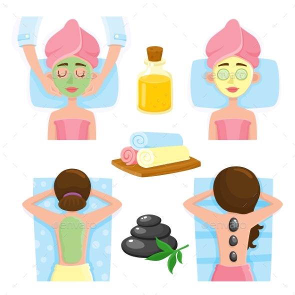 Spa Salon Precedures and Accessories, Mask - Objects Vectors
