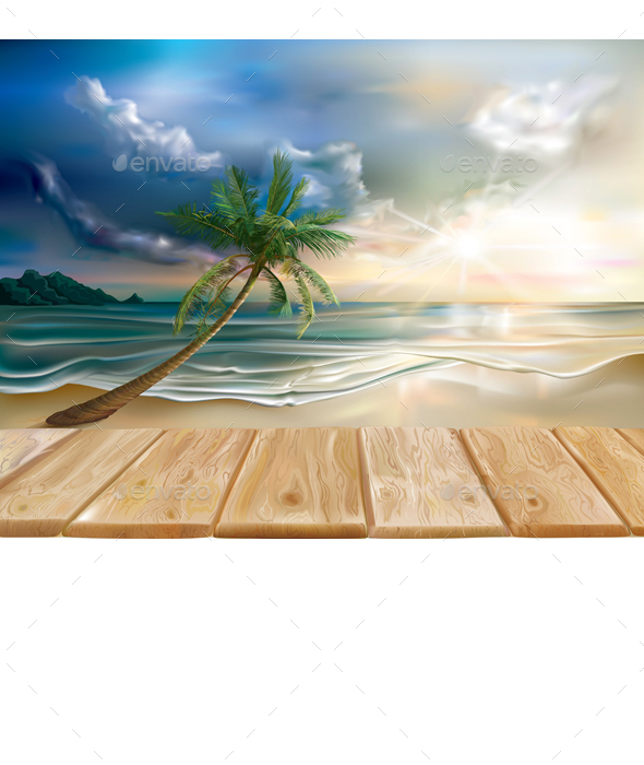 Wooden Boards on the Background of Tropical Beach - Travel Conceptual
