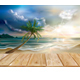 Wooden Boards on the Background of Tropical Beach - GraphicRiver Item for Sale
