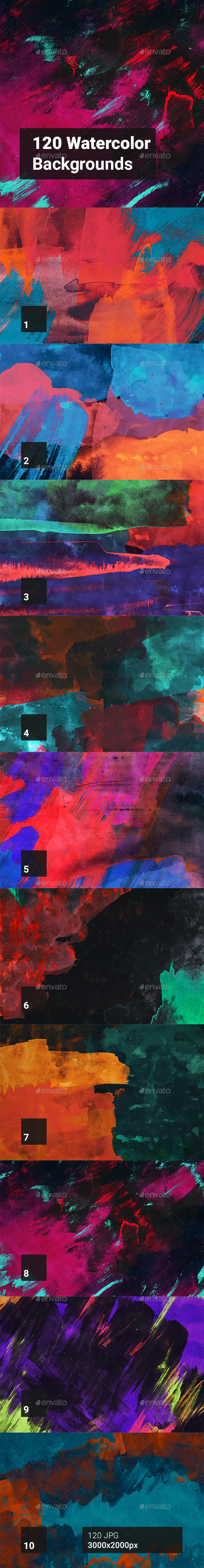 120 Watercolor Backgrounds - Abstract Backgrounds