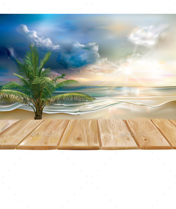 Wooden Boards on the Sea Landscape - Travel Conceptual