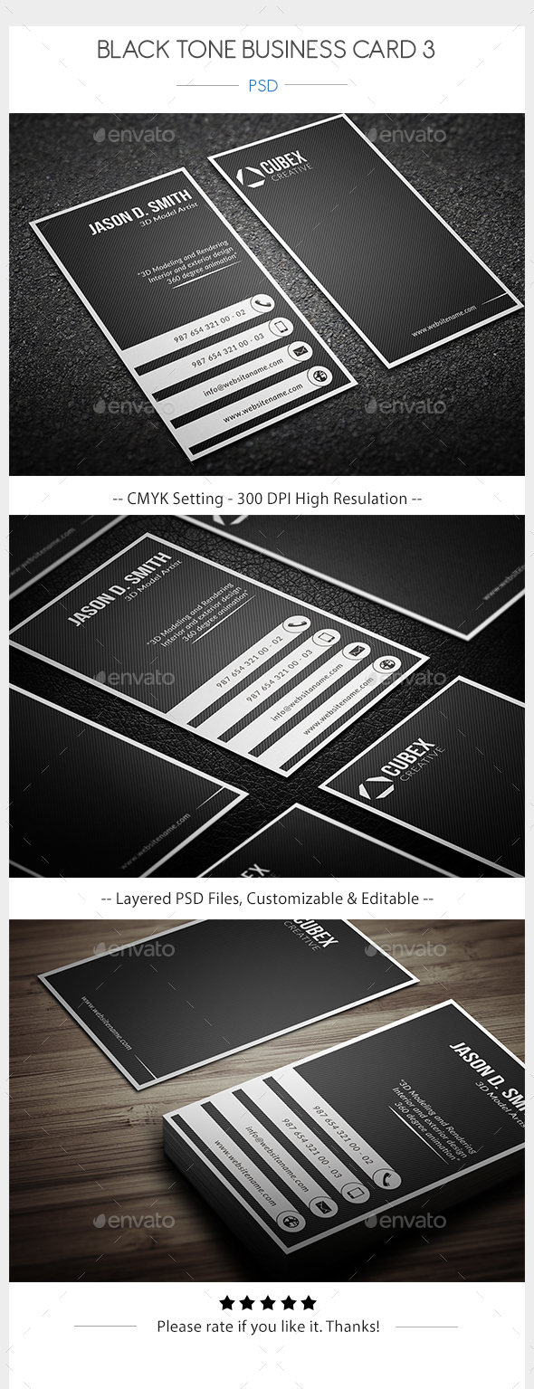 Black Tone Business Card 3 - Corporate Business Cards