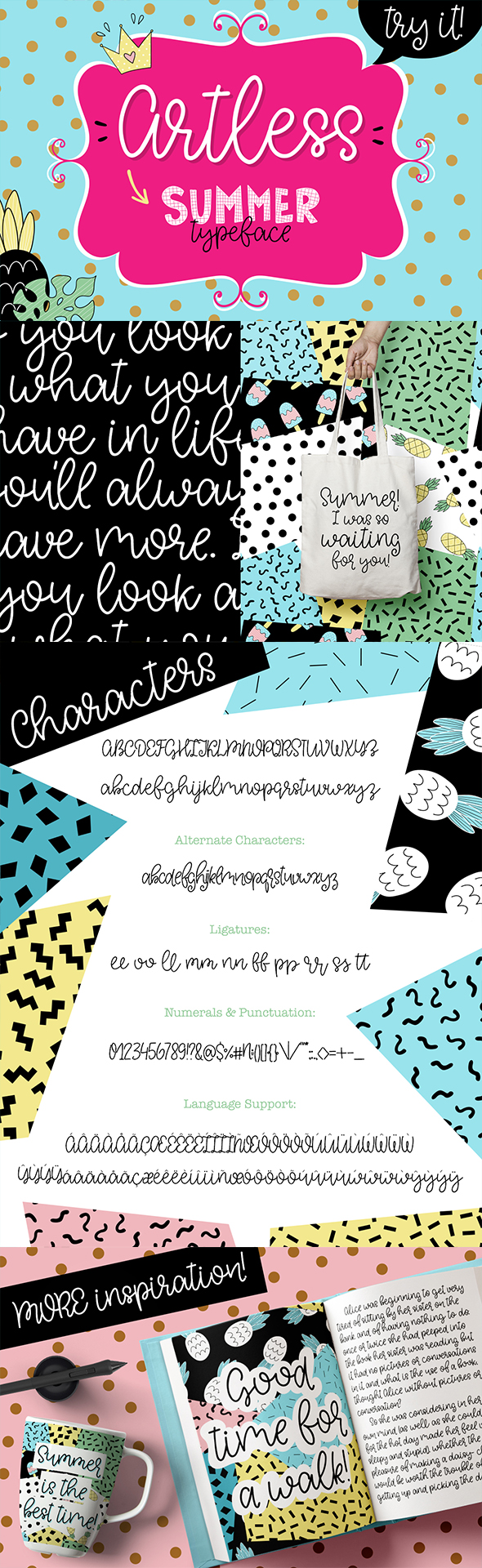 Artless Typeface - Summer Font - Calligraphy Script