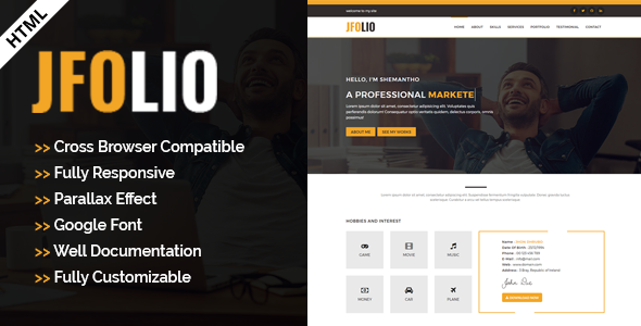 JFOLIO - One Page Portfolio Template - Virtual Business Card Personal