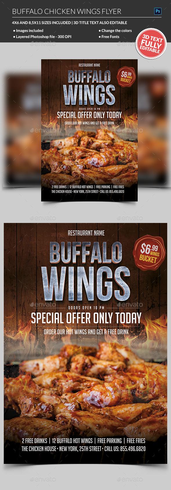 Chicken Wings Flyer - Restaurant Flyers