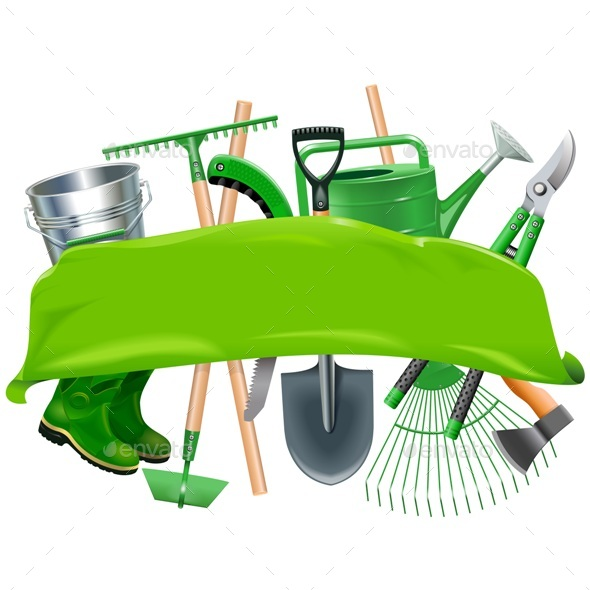 Vector Green Banner with Garden Tools - Backgrounds Decorative