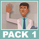 Black Male Doctor And Black Female Patient Cartoon Characters Pack 1